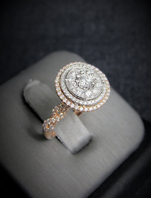 14KT White And Rose Gold Diamond Cluster Multi Halo Engagement Ring