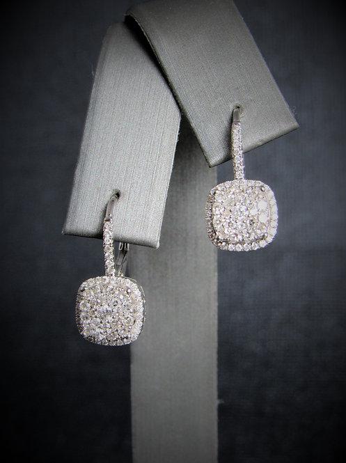 14KT White Gold Diamond Square Cluster Euro Style Earrings
