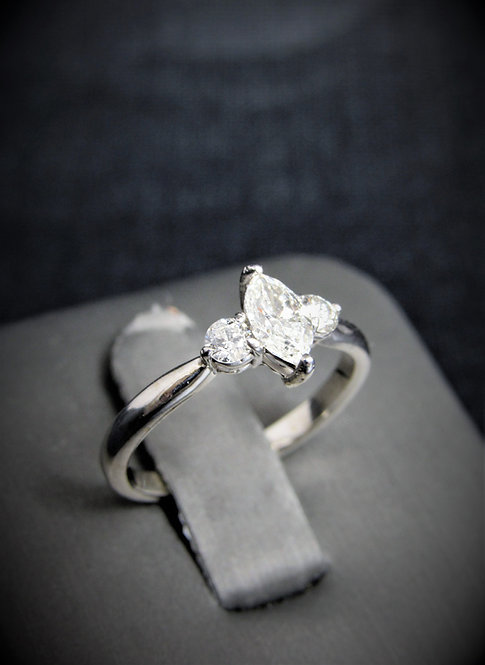14KT White Gold Marquise Cut Diamond Three-Stone Style Engagement Ring
