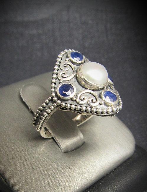 Pearl & Sapphires Ratnaraj Sterling Silver Ring