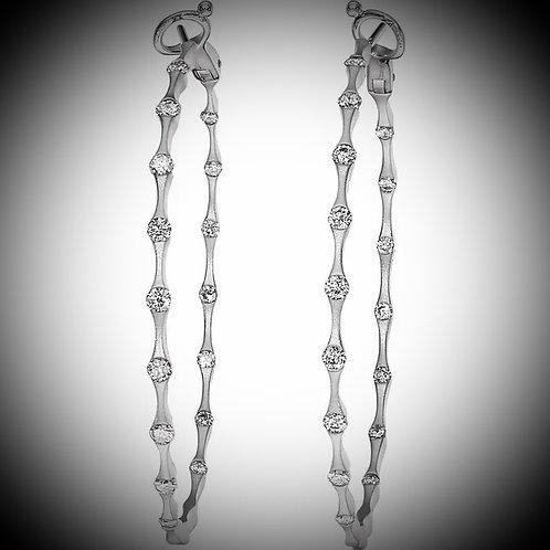 14KT White Gold Inside-Outside Diamond Hoop Earrings