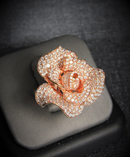 18KT Rose Gold Diamond Pave Style Rose Ring