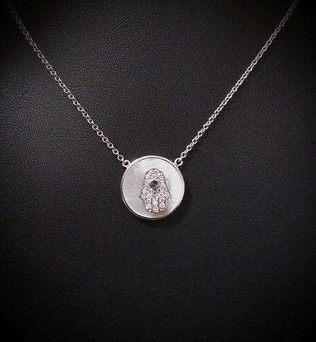 Sterling Silver Round Mother of Pearl & Blue Cubic Zirconia Hamsa Necklace