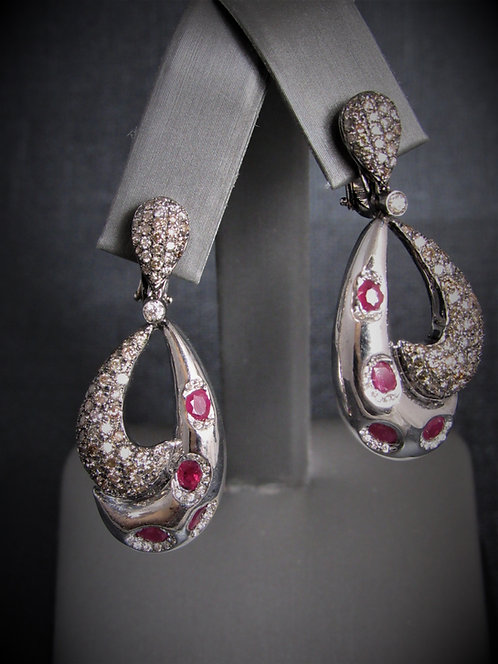 14KT White Gold Champagne Diamond And Ruby Earrings