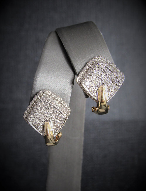 14KT White And Yellow Diamond Pave Set Earrings