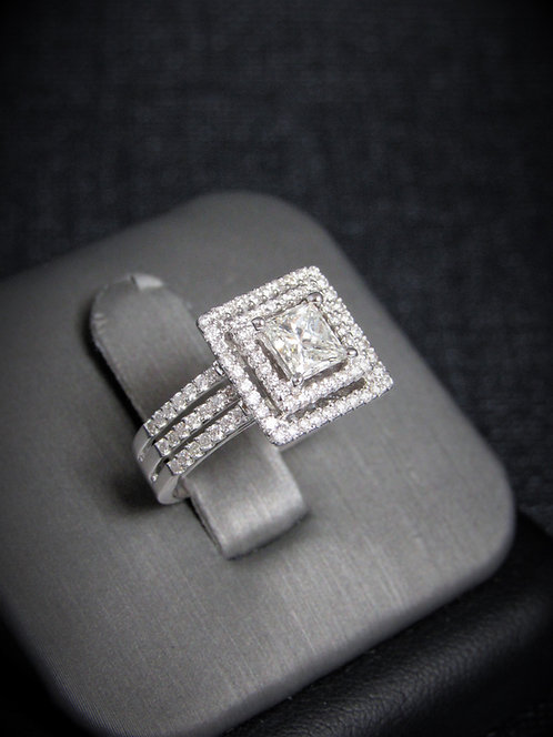 18KT White Gold Princess Cut Diamond Halo Style Engagement Ring