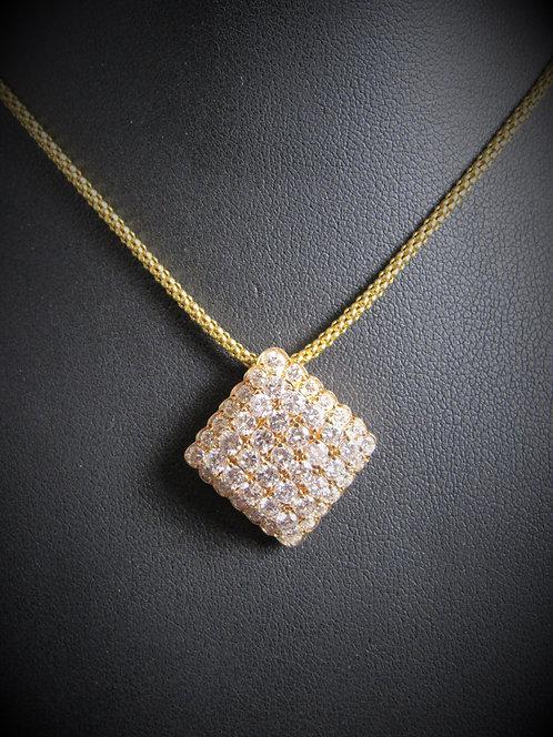 14KT Yellow Gold Diamond Cluster Pendant