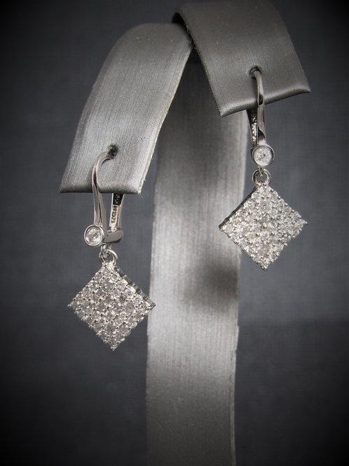 14KT White Gold Diamond Dangling Squares Earrings