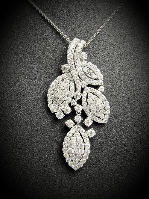 18KT White Gold Diamond Fancy Drop Pendant