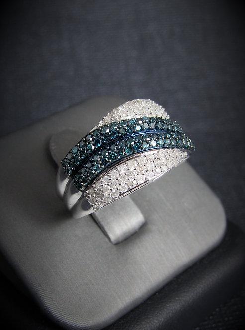 10KT White Gold Blue And White Diamond Ring
