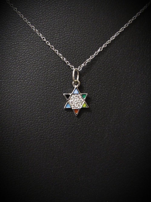 14KT White Gold Pavé Diamond & Multicolor Enamel Hamsa Necklace