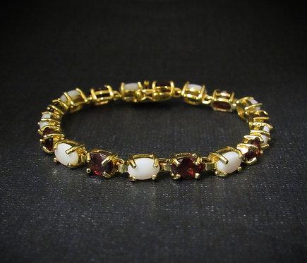 Garnet & White Opal 14KT Gold Plated Sterling Silver Bracelet