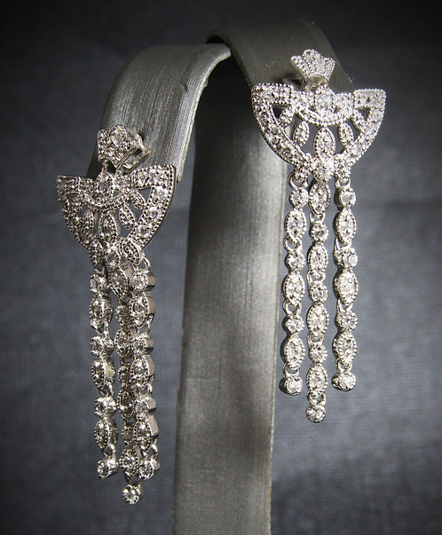 White Topaz Chandelier Sterling Silver Earrings
