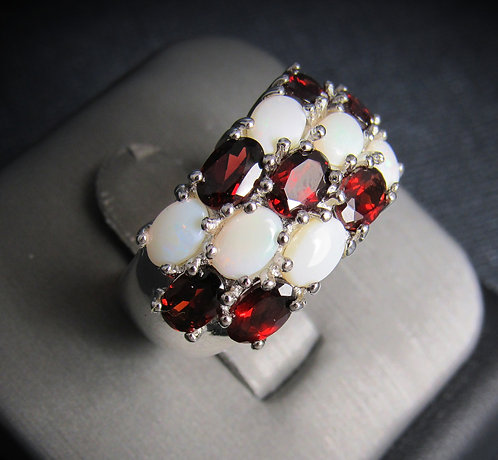 Garnet & White Opal 18KT Gold Plated Sterling Silver Ring