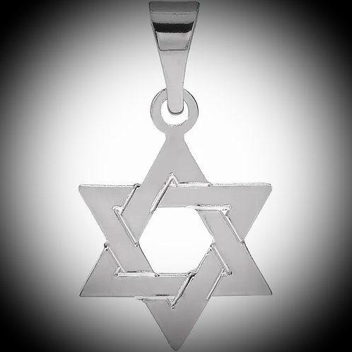 14KT White Gold Star Of David Pendant