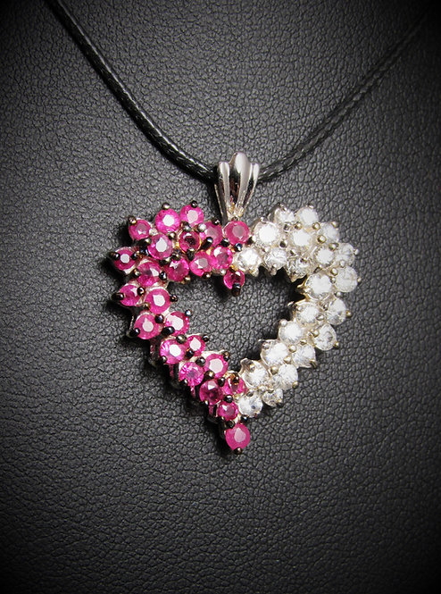 14KT White Gold Diamond And Ruby Heart Pendant