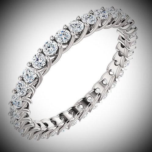 14KT White Gold 3mm Round Cut Diamonds Eternity Band