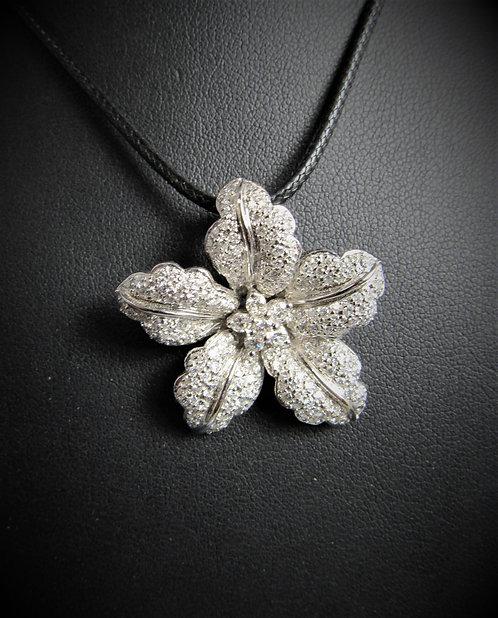 18KT White Gold Diamond Pave Style Flower Pendant