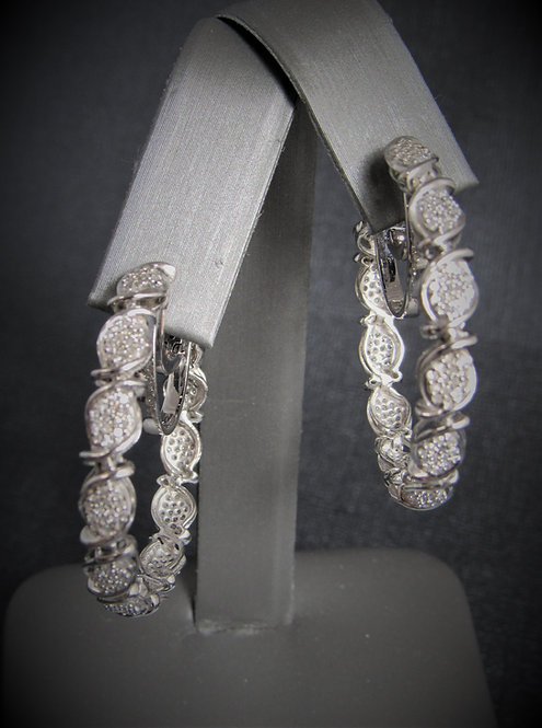 14KT White Gold Diamond Pave Hoop Earrings