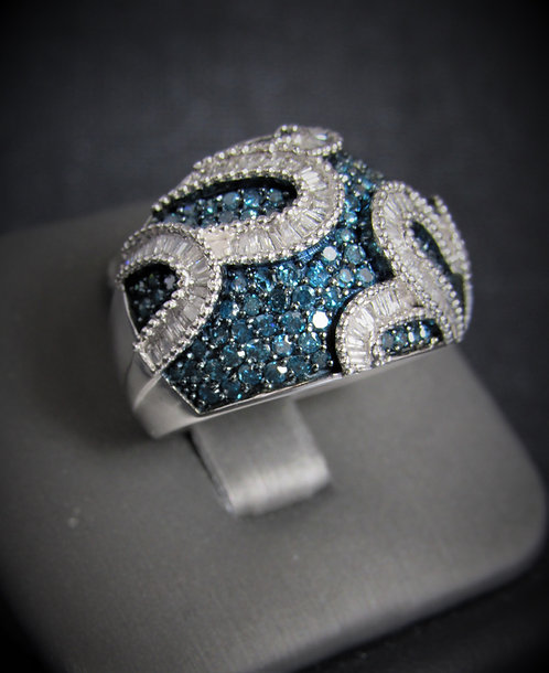 10KT White Gold Blue And White Diamond Pave Ring