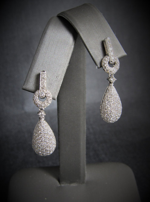 18KT White Gold Diamond Pave Style Dangling Earrings