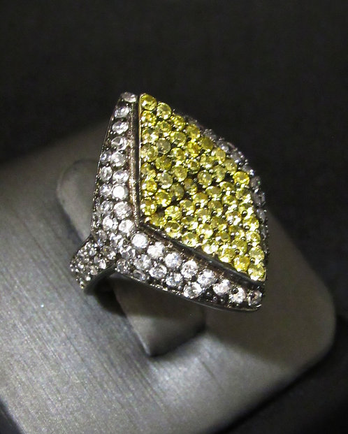 Yellow & White Topaz Rhodium Plated Sterling Silver Ring