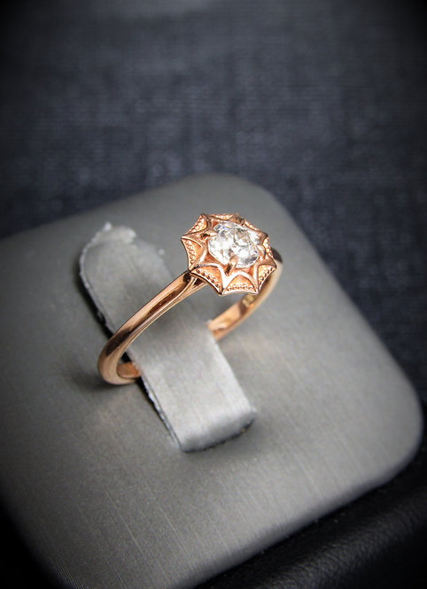 14KT Rose Gold Round Cut Diamond Engagement Ring