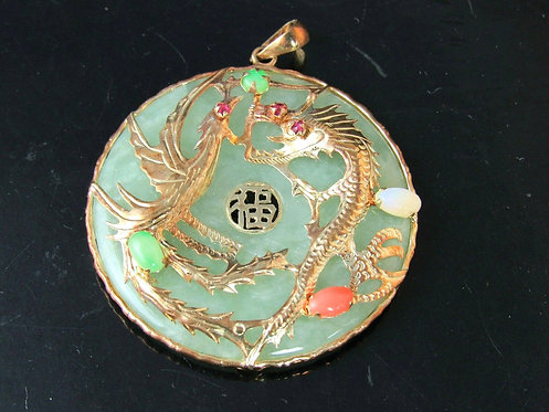 ANTIQUE 14KT YELLOW GOLD JADE CORAL OPALITE RUBY ROUND PENDANT DRAGON THEME