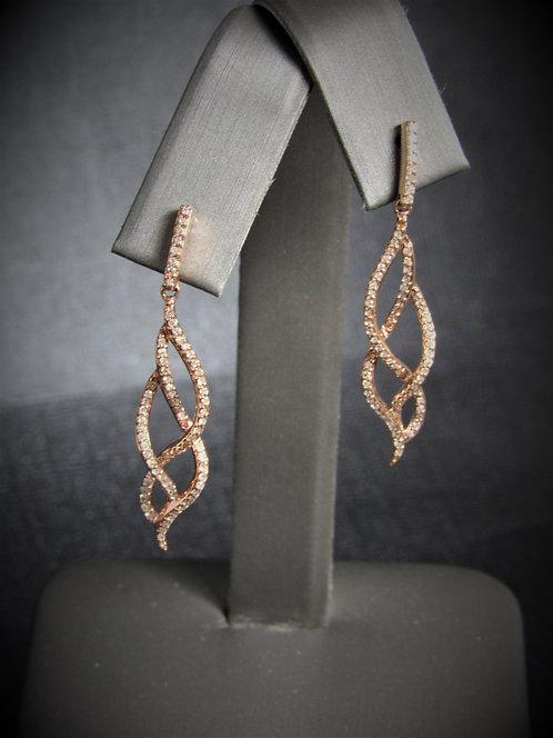 14KT Rose Gold Diamond Drop Earrings