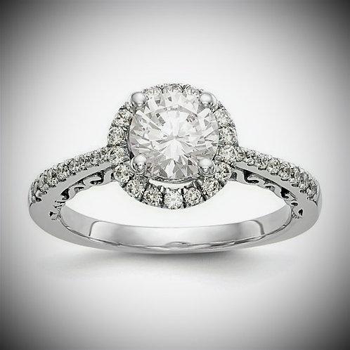 14K White Gold Round Diamond Halo Engagement Mounting