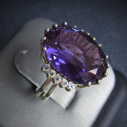 Purple Amethyst With White Sapphires Sterling Silver Ring