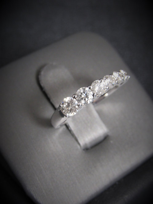 14KT White Gold Graduated Diamond Stackable Ring