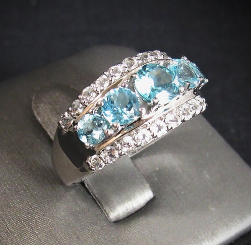Blue Zircon With White Sapphires 14KT Gold Plated Sterling Silver Ring