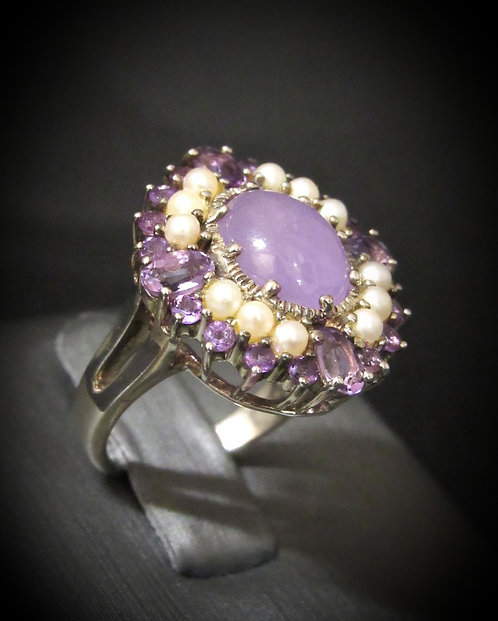 Purple Jade, White Pearls, & Amethyst 18KT Gold Plated Sterling Silver Ring