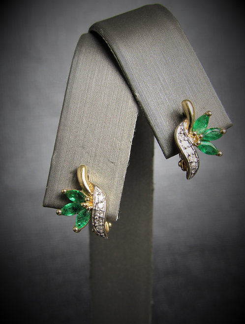 14KT Yellow Gold Diamond And Emerald Earrings