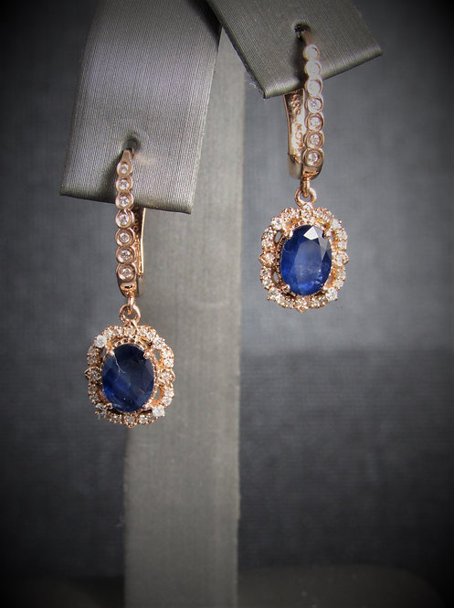 14KT Rose Gold Diamond And Sapphire Dangling Earrings