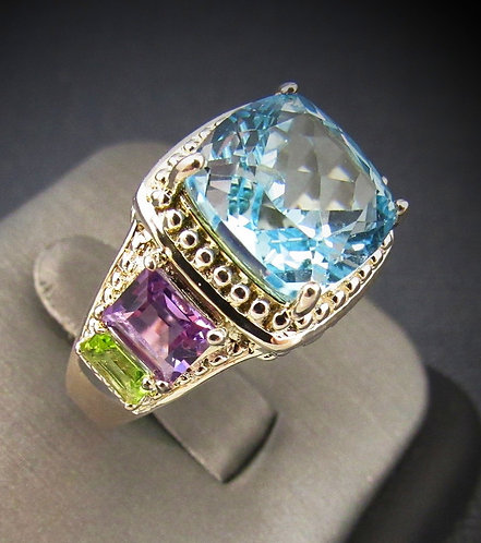 Blue Topaz, Amethyst, & Peridot Sterling Silver Ring