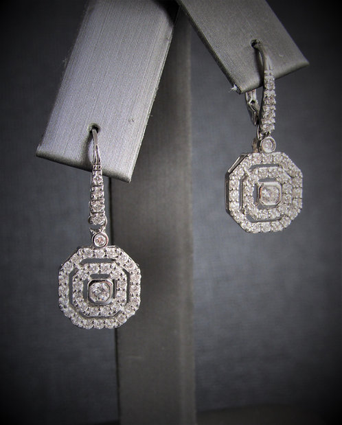 14KT White Gold Diamond Euro Style Earrings