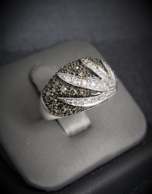 10KT White Gold Champagne And White Diamond Pave Ring