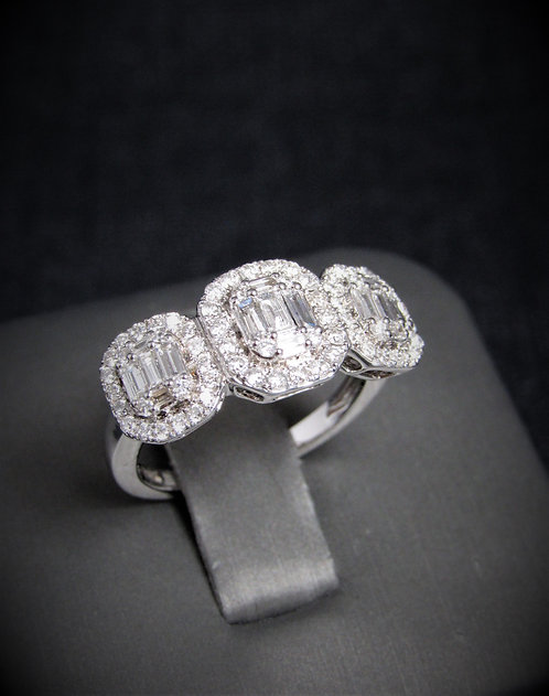 14KT White Gold Baguette And Round Cut Diamond Cluster Style Engagement Ring