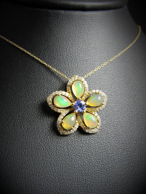 14KT Yellow Gold Diamonds Opalite And Tanzanite Flower Pendant