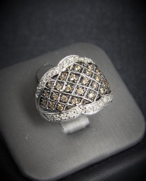 10KT White Gold Champagne And White Diamond Ring