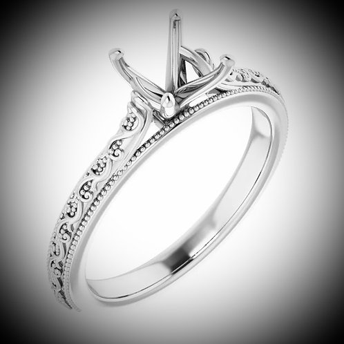14KT White Gold Engraved Solitaire Engagement Mounting