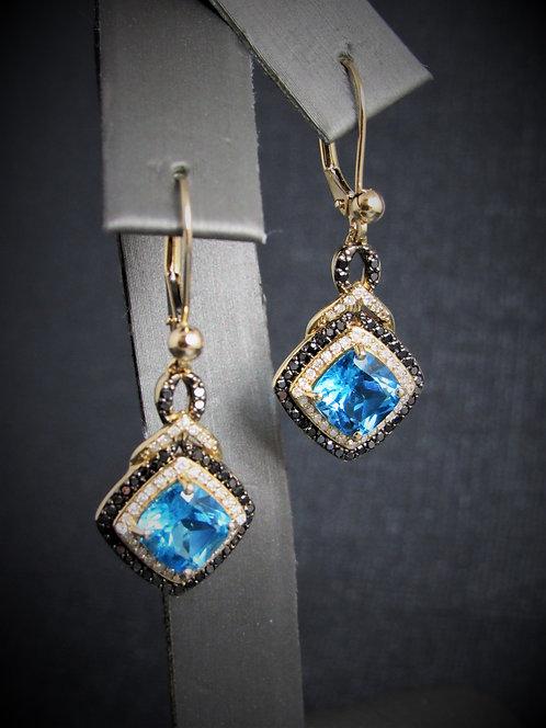 14KT Yellow Gold Diamond And BlueTopaz Earrings