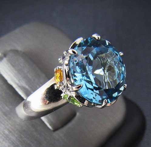 Round Blue Topaz Multigem 14KT Gold Plated Sterling Silver Ring