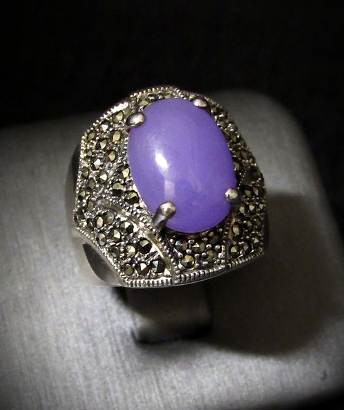 Purple Jade & Marcasite Sterling Silver Ring