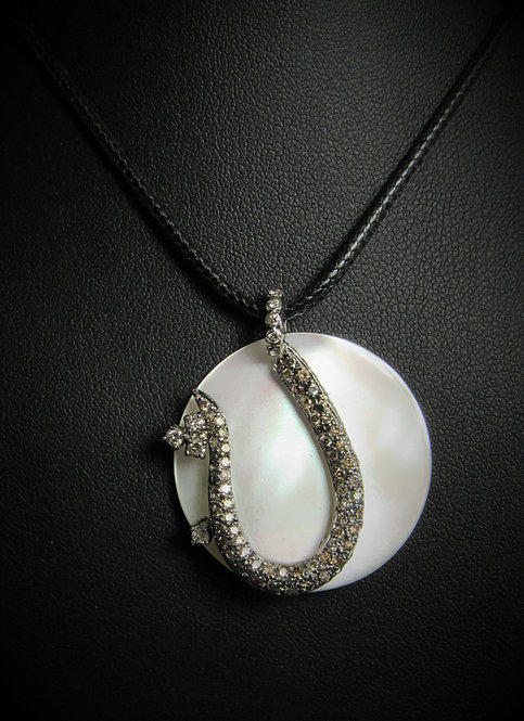 18KT White Gold Champagne Diamond And Mother Of Pearl Pendant