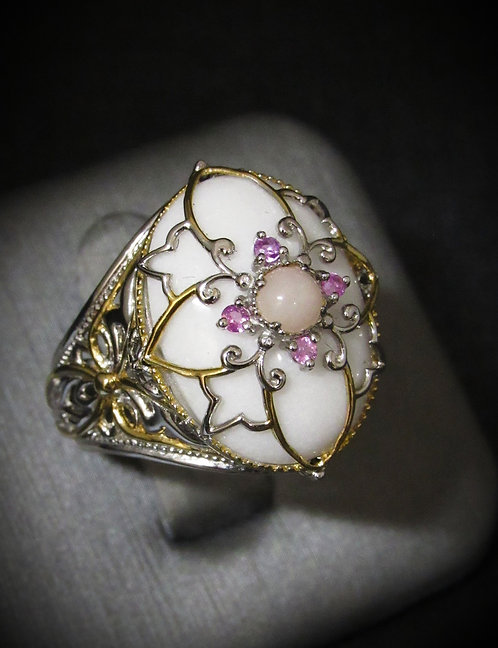White Onyx, Pink Sapphires, & Pink Jade 18KT Gold Plated Sterling Silver Ring