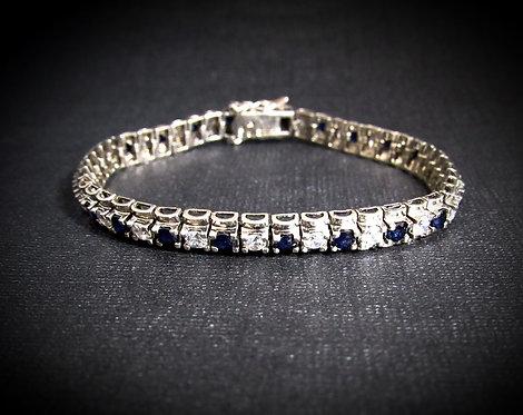 Blue Sapphire & White Topaz Sterling Silver Tennis Bracelet