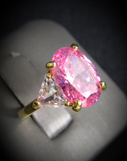 Pink Cubic Zirconia & White Topaz 14KT Yellow Gold Plated Sterling Silver Ring
